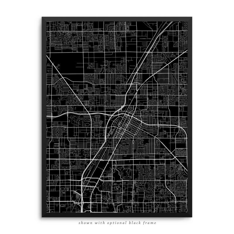 Las Vegas NV City Street Map Black Poster