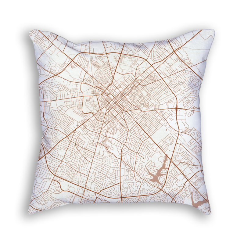 Lexington Kentucky City Map Art Decorative Throw Pillow