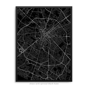 Lexington KY City Street Map Black Poster
