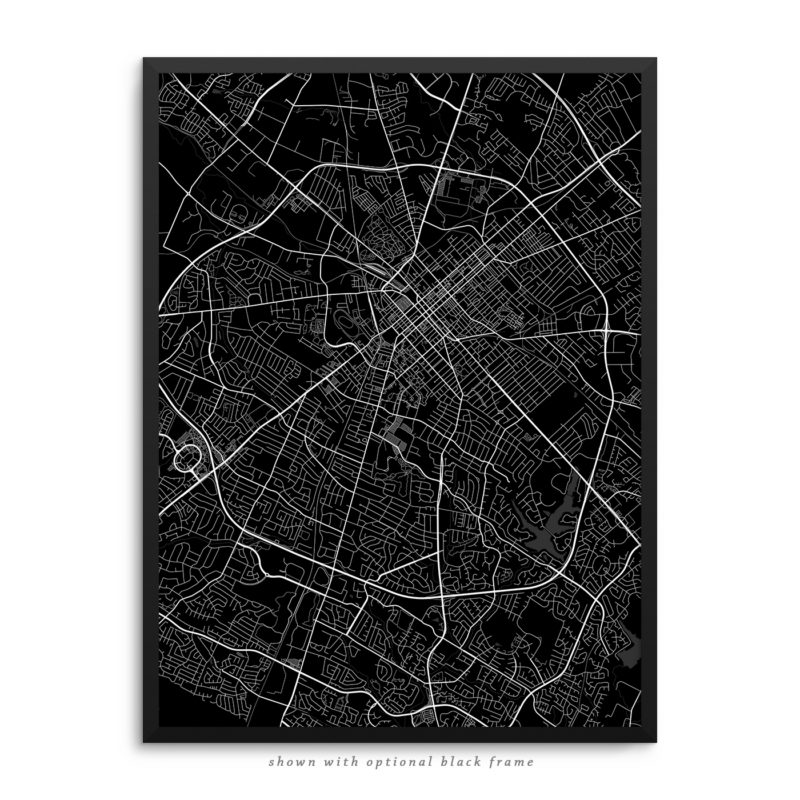 Lexington KY City Street Map Black Poster