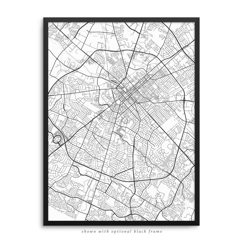 Lexington KY City Street Map White Poster