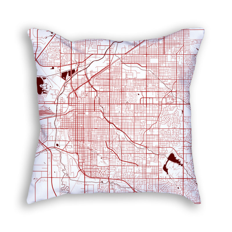 Lincoln Nebraska City Map Art Decorative Throw Pillow