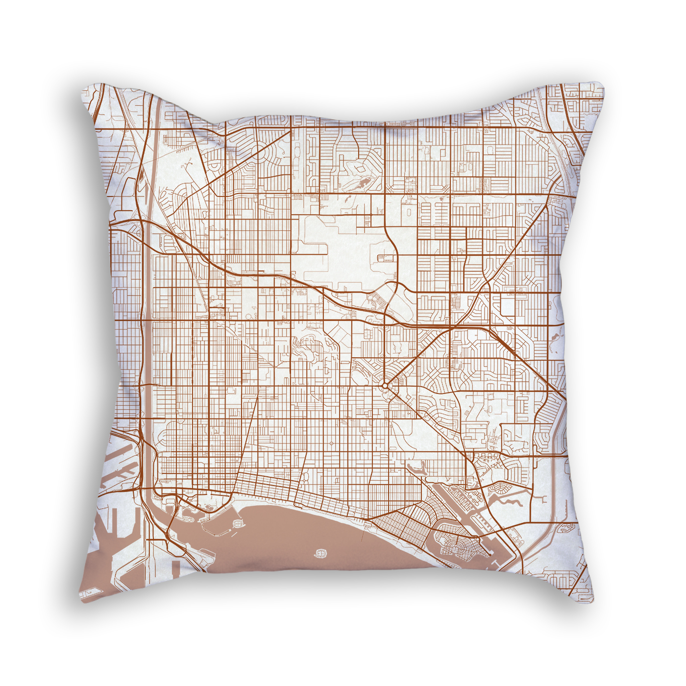 Long Beach CA City Map Art Decorative Throw Pillow