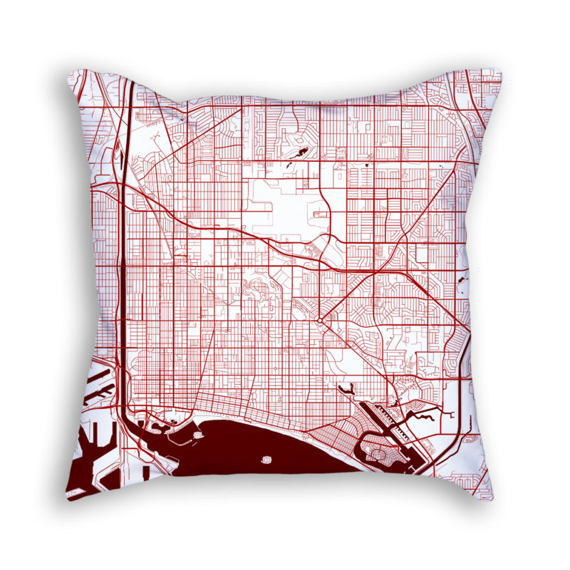 Long Beach California City Map Art Decorative Throw Pillow