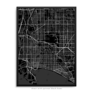 Long Beach CA City Street Map Black Poster