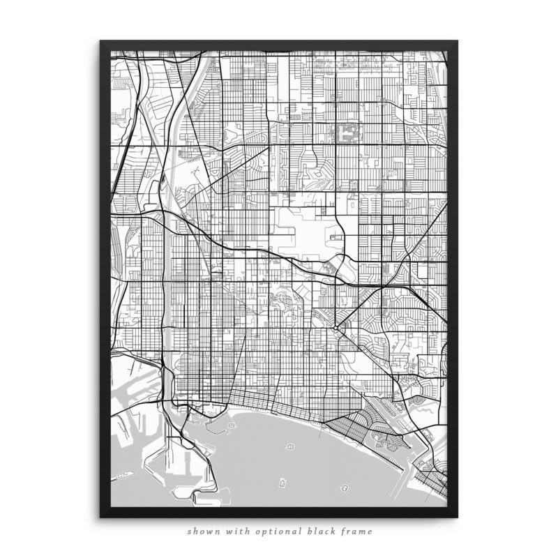 Long Beach CA City Street Map White Poster