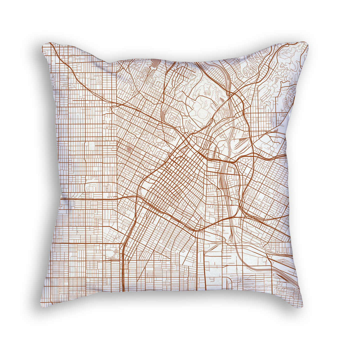 Los Angeles CA City Map Art Decorative Throw Pillow