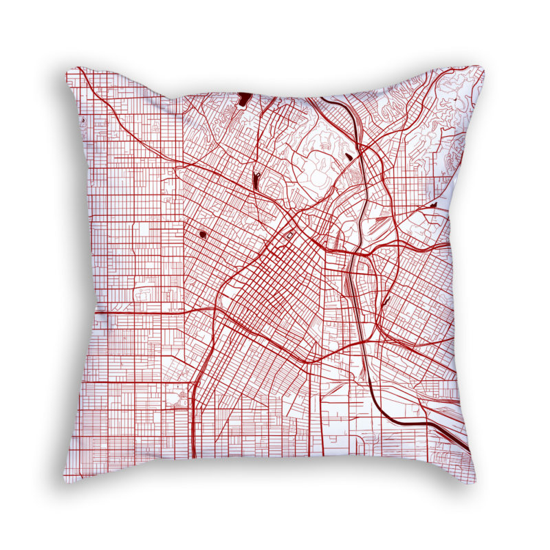 Los Angeles California City Map Art Decorative Throw Pillow