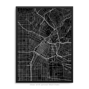 Los Angeles CA City Street Map Black Poster