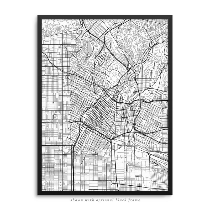Los Angeles CA City Street Map White Poster