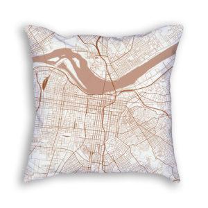 Louisville Kentucky City Map Art Decorative Throw Pillow
