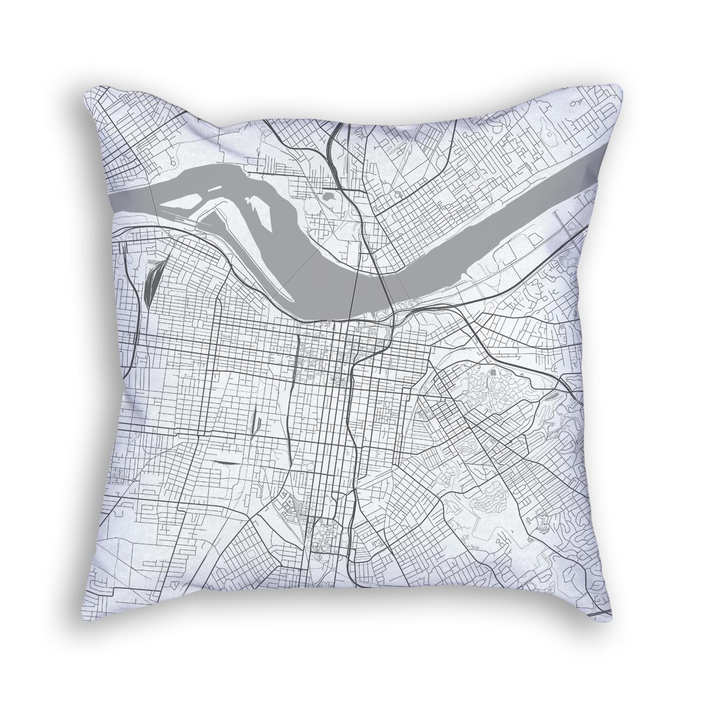 Louisville Kentucky Throw Pillow City Map Decor