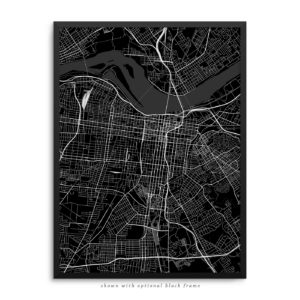 Louisville KY City Street Map Black Poster