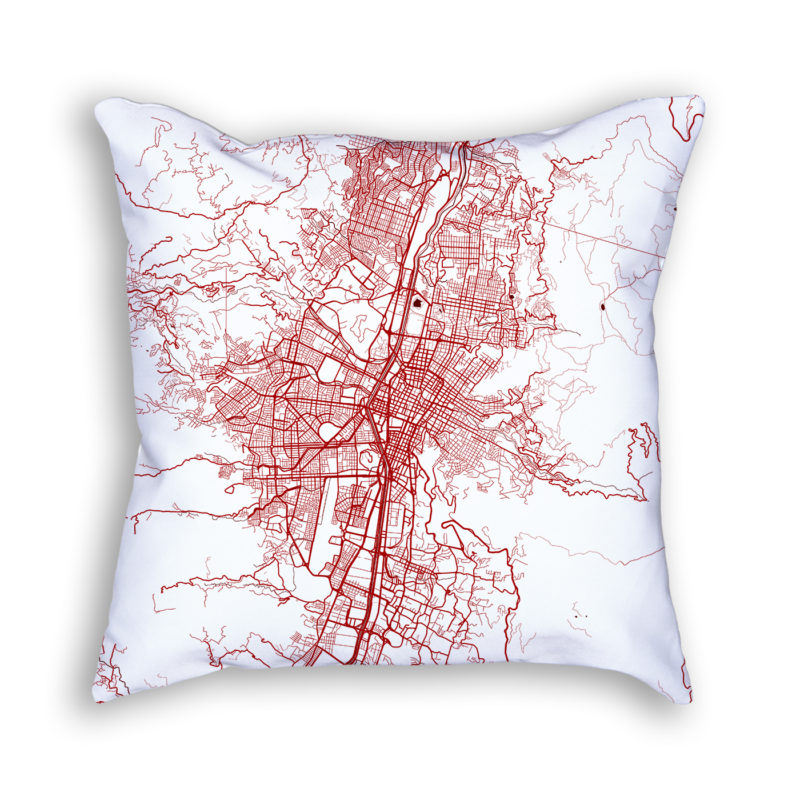 Medellin Colombia City Map Art Decorative Throw Pillow