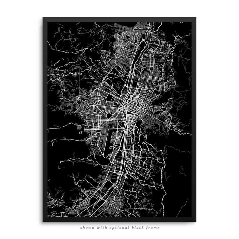 Medellin Colombia City Street Map Black Poster