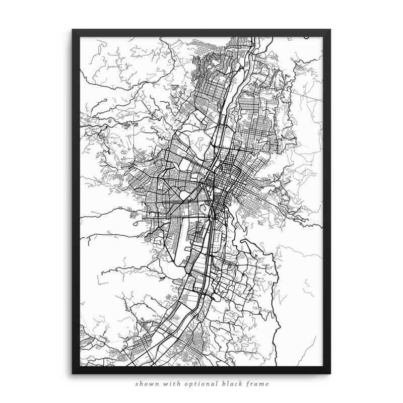 Medellin Colombia City Street Map White Poster