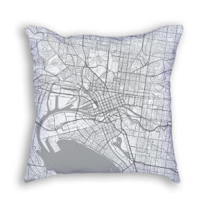 Melbourne Australia City Map Art Decorative Throw Pillow