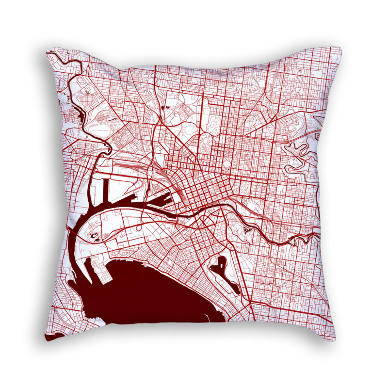 Melbourne Australia City Map Art Decorative Throw Pillow