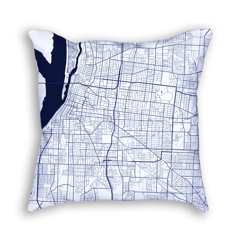 Memphis Tennessee City Map Art Decorative Throw Pillow