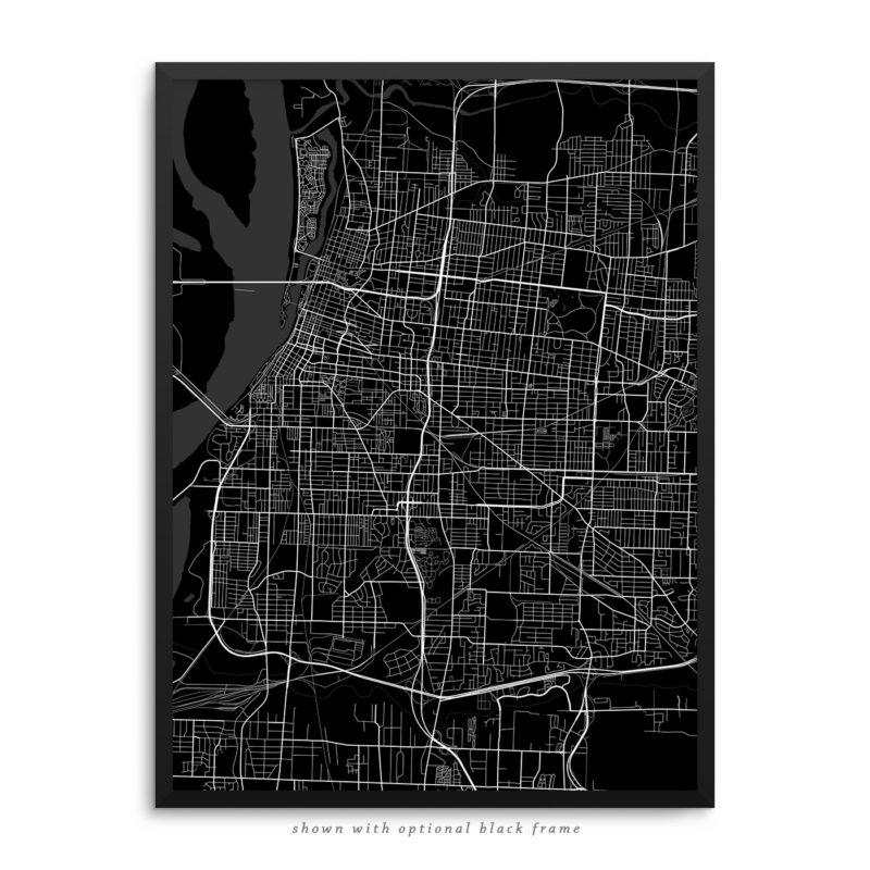 Memphis TN City Street Map Black Poster