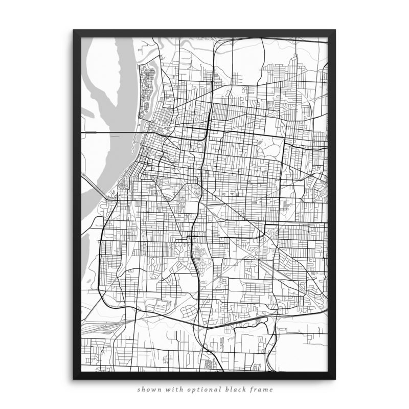Memphis TN City Street Map White Poster