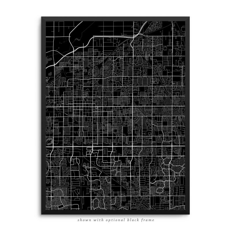 Mesa AZ City Street Map Black Poster