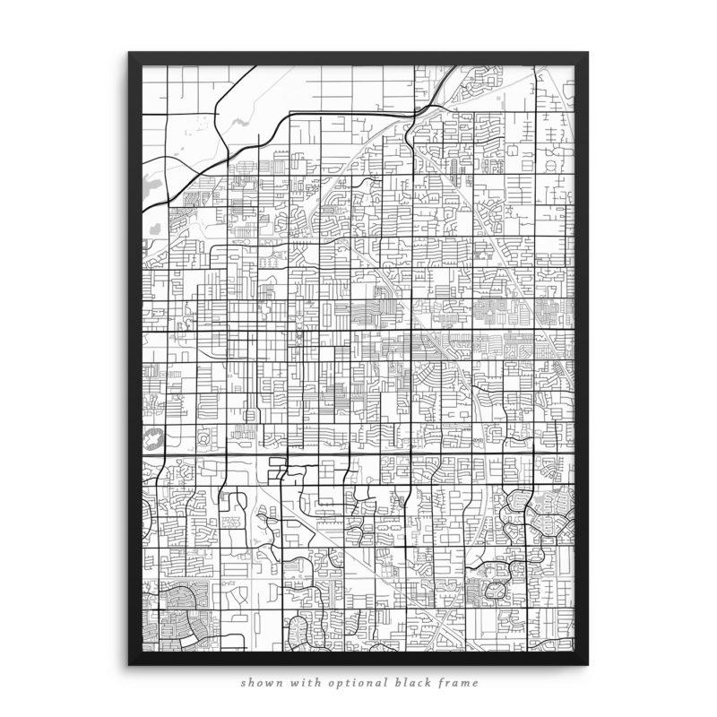 Mesa AZ City Street Map White Poster