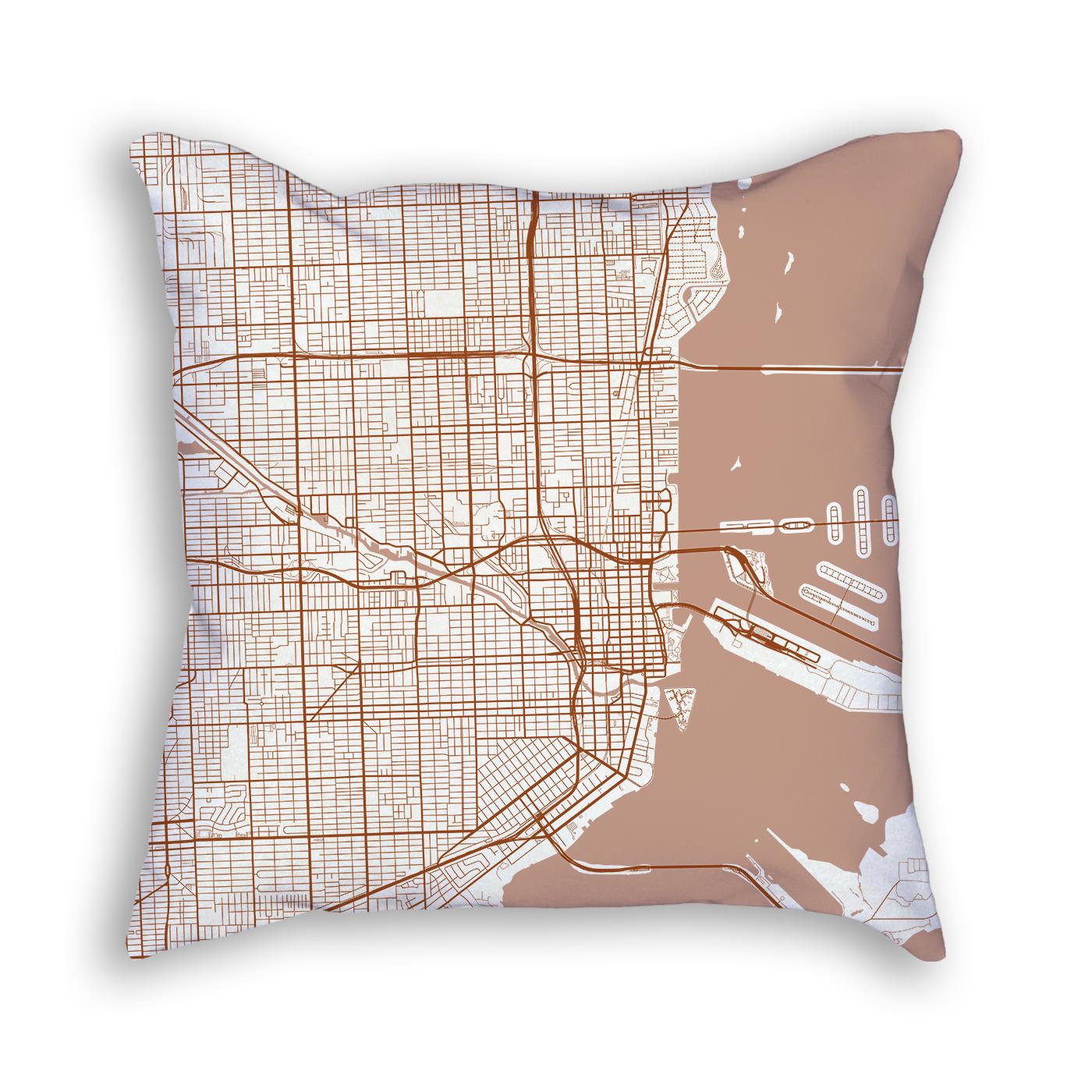 Miami Florida City Map Art Decorative Throw Pillow