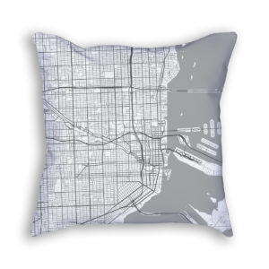 Miami Florida City Map Art Decorative Throw Pillow
