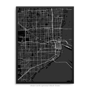 Miami FL City Street Map Black Poster