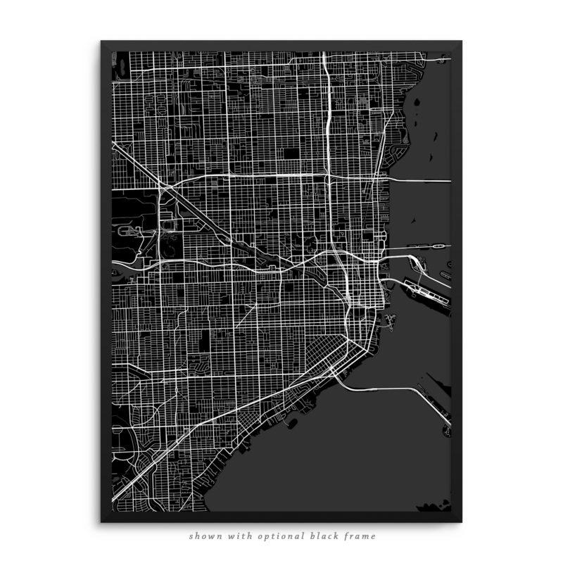 Miami FL City Street Map Black Poster