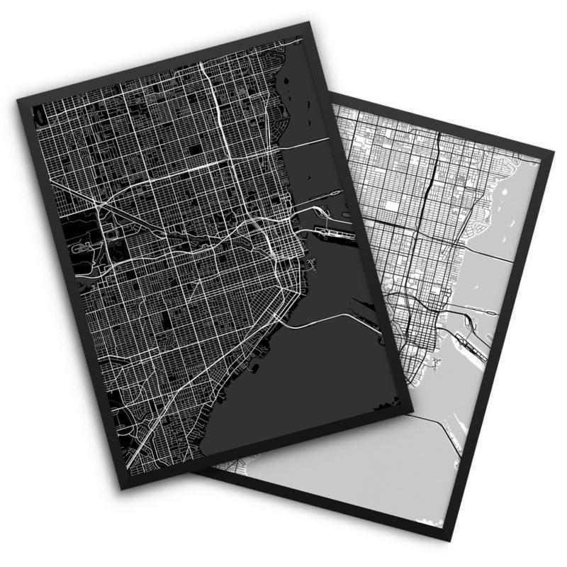 Miami FL City Map Decor
