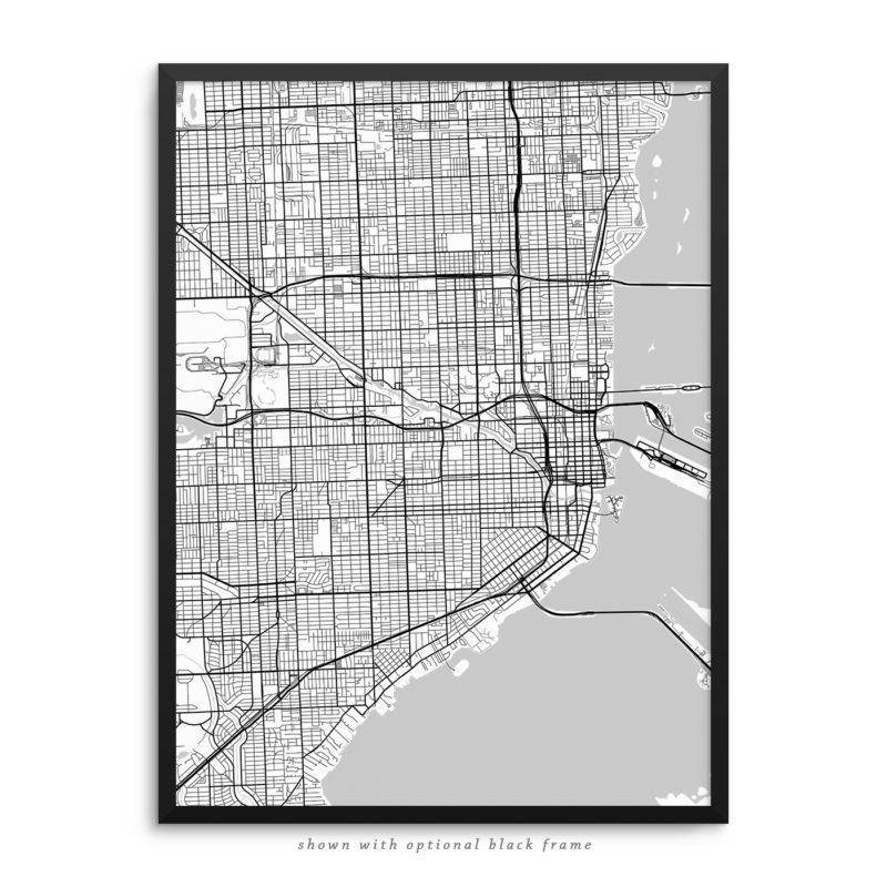 Miami FL City Street Map White Poster