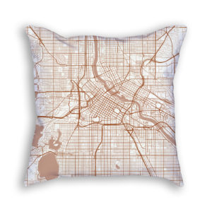Minneapolis Minnesota City Map Art Decorative Throw Pillow