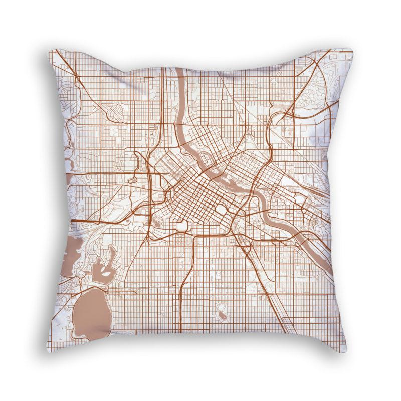 Minneapolis Minnesota City Map Art Decorative Throw Pillow