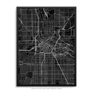 Minneapolis MN City Street Map Black Poster