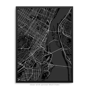 Montreal Canada City Street Map Black Poster