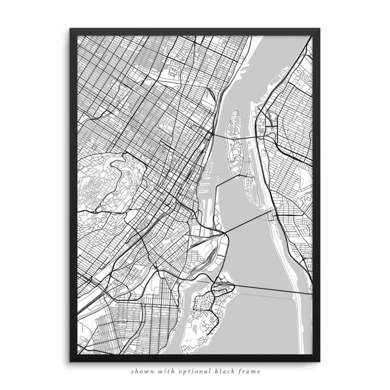 Montreal Canada City Street Map White Poster