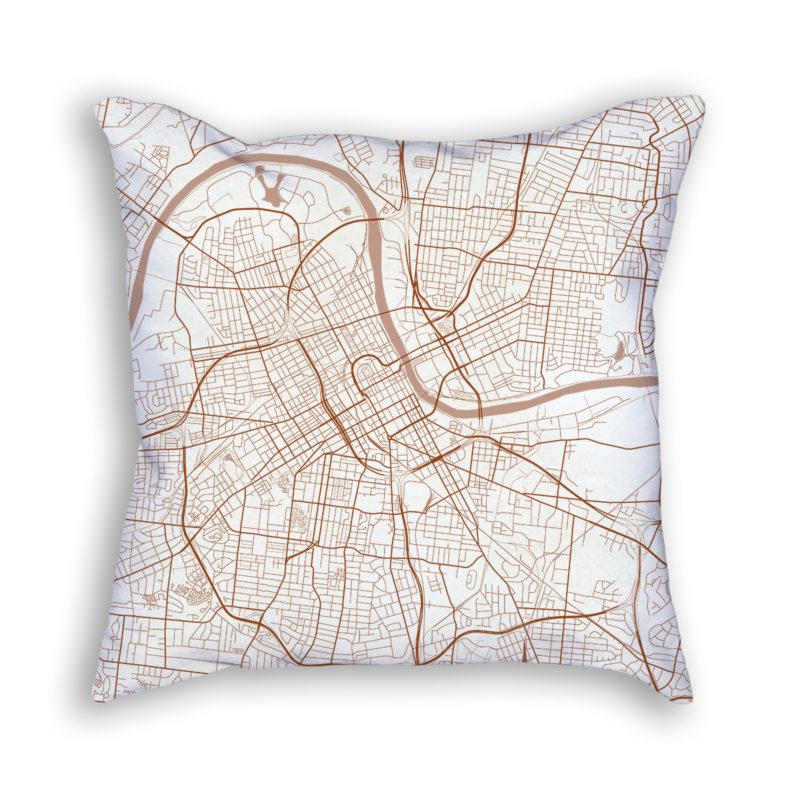 Nashville Tennessee City Map Art Decorative Throw Pillow