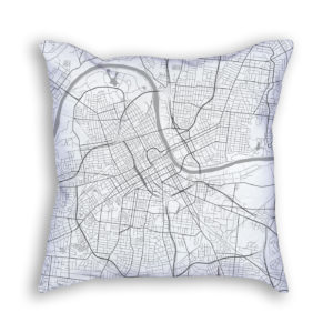 Nashville Tennessee City Map Art Decorative Throw Pillow
