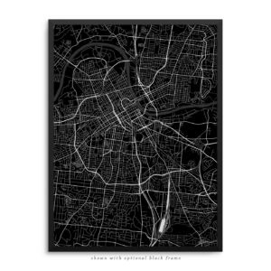 Nashville TN City Street Map Black Poster