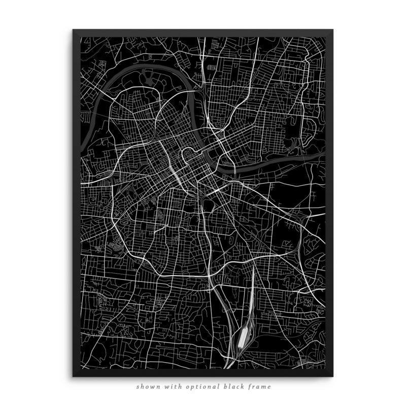 Nashville TN City Street Map Black Poster