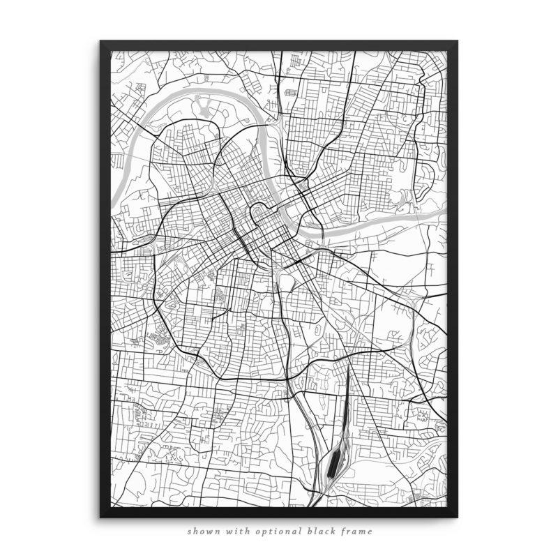 Nashville TN City Street Map White Poster