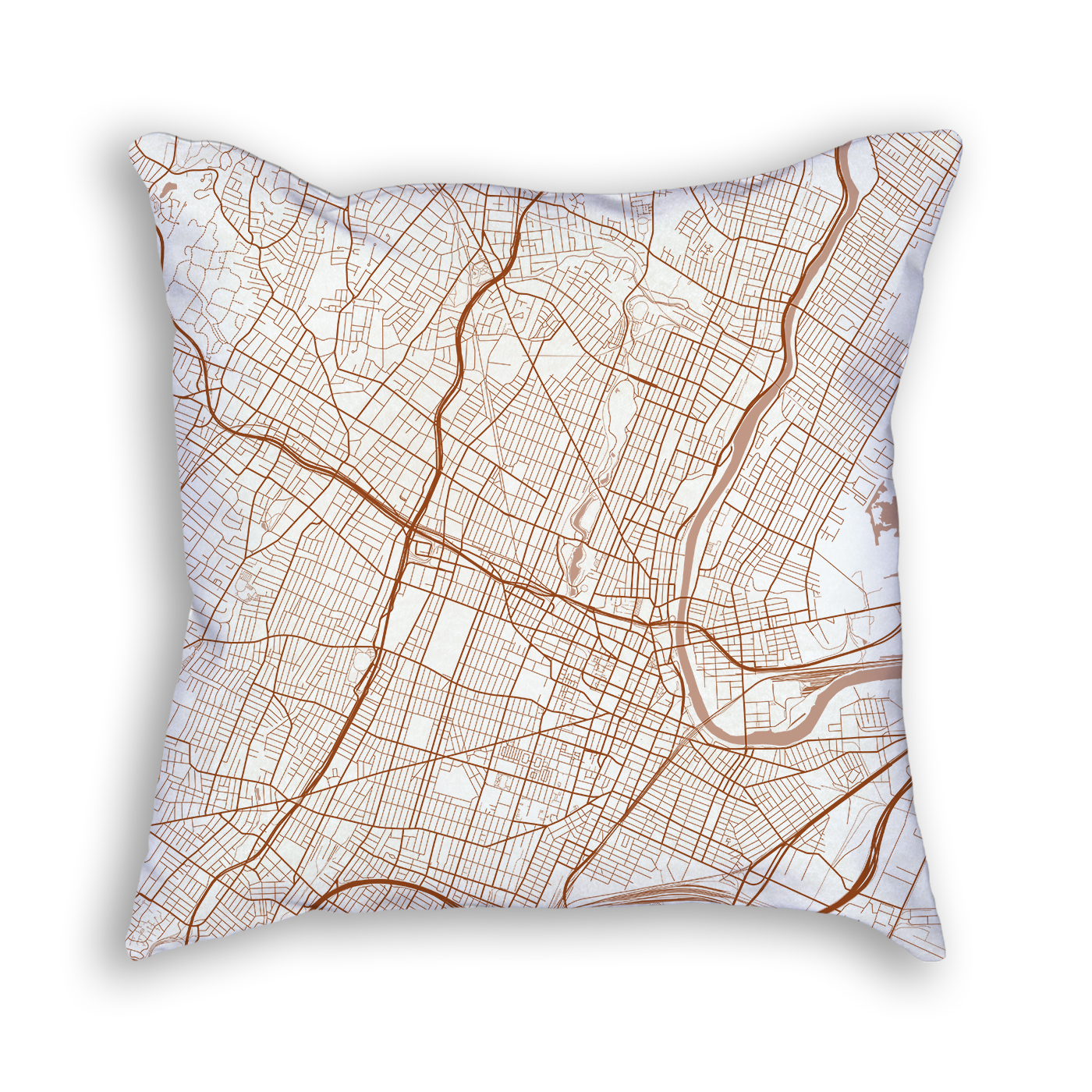 Newark NJ City Map Art Decorative Throw Pillow