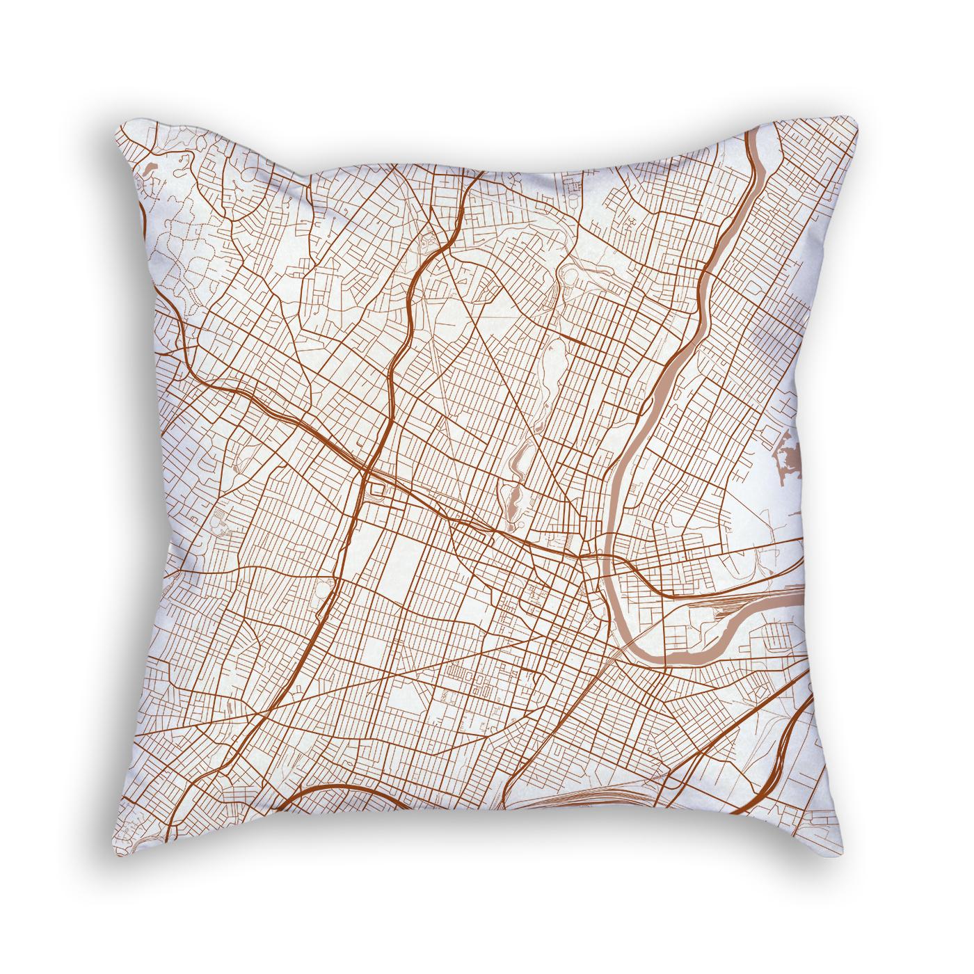 Newark NJ City Map Art Decorative Throw Pillow