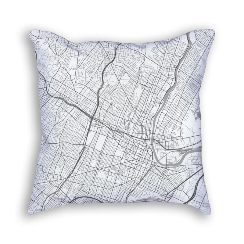 Newark New Jersey City Map Art Decorative Throw Pillow