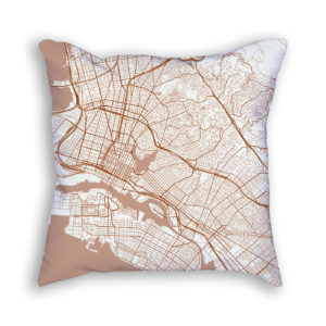 Oakland CA City Map Art Decorative Throw Pillow