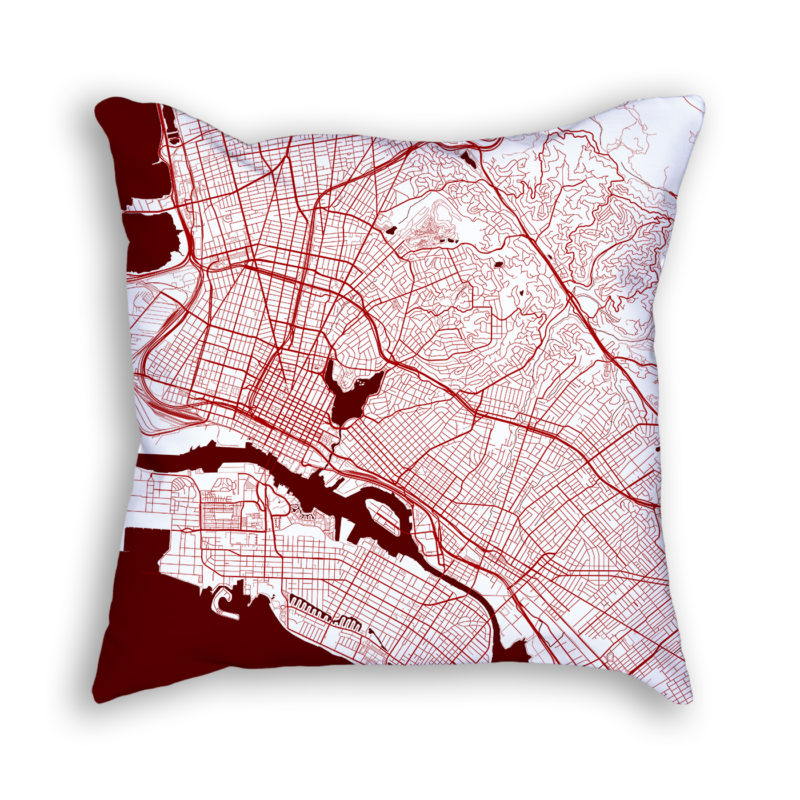 Oakland California City Map Art Decorative Throw Pillow