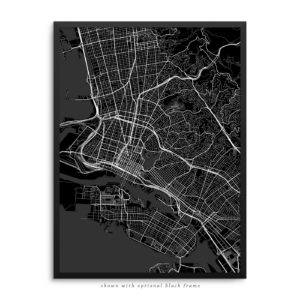 Oakland CA City Street Map Black Poster