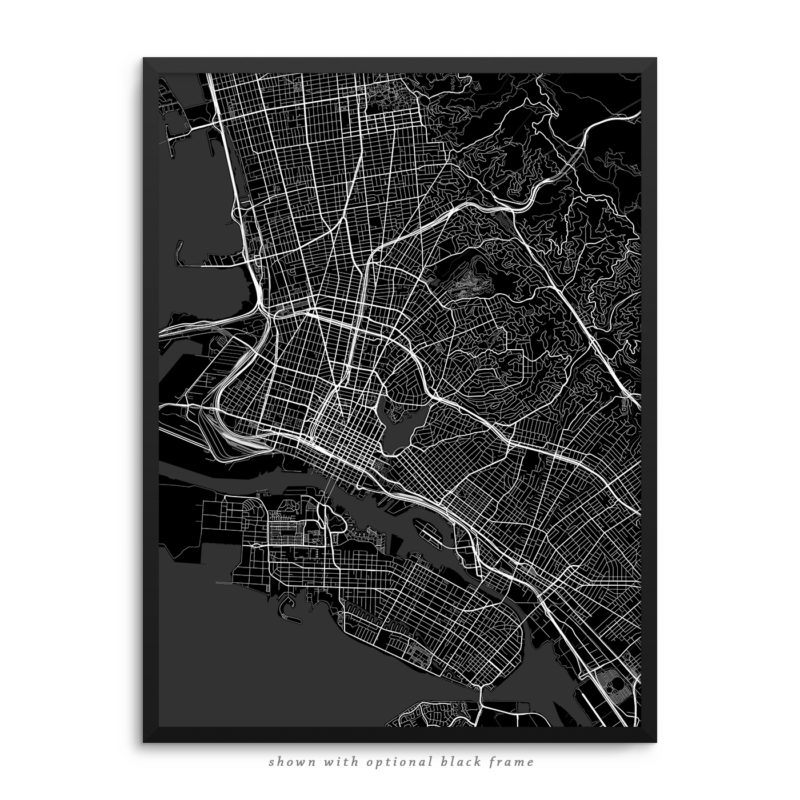 Oakland CA City Street Map Black Poster